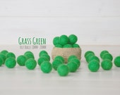 2CM Felt Balls - 100% Wool Felt Balls - 25 Wool Felt Balls (18 - 20 mm) - Color Grass Green-1064 - Green Felted Balls - Green Pom Poms