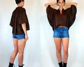 Vintage 70s Avant Garde Batwing Disco Fluid Brown Draped Mini Dress Top. Boho hippie Button Front Shirt / Oversized Blouse. Small - Medium
