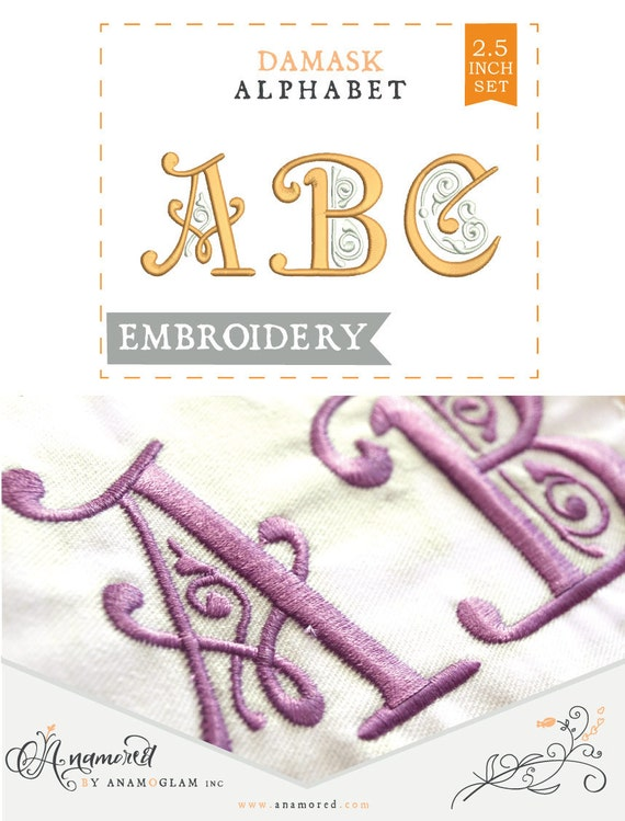 Inch damask victorian embroidery alphabet font by anamored