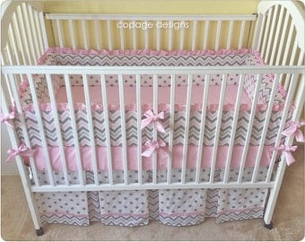 Pink and Gray Chevron Baby Nursery 3-Piece Crib Bedding Set / Includes: Bumper Pad, Crib Skirt, and Fitted Sheet