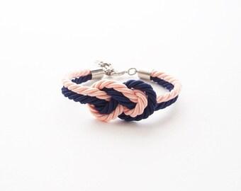 Bridesmaid bracelet - navy blush wedding - nautical wedding gift - maid of honor bracelet - tie the knot bracelet - beach wedding gift