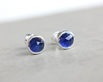 Blue Sapphire Studs Sterling Silver Little Tiny Blue Natural Rose Cut Sapphire Earrings 6mm Earrings Studs September Birthstone
