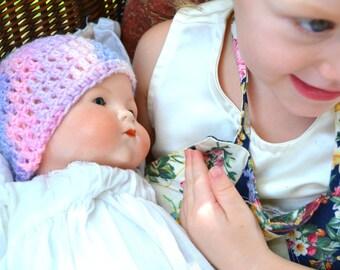 Pixie Dust Crochet Baby Hat Pink Purple Ombré Shimmer Faerie Fantasy Girl Thumbelina Fairy Newborn Infant Crocheted Beanie Girly Shower Gift