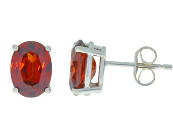 14Kt White Gold Garnet Oval Stud Earrings