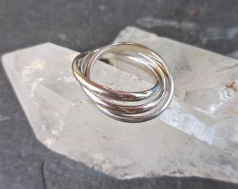 "Russian Wedding Ring - Modern Wedding Band, Roller Ring, 14K White gold, ""Cartier"" Rolling Ring, Trinity Ring, Three Slider Rings"