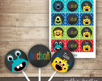 Monster Birthday Cupcake Toppers, Chalkboard Monster Party, Personalized Cupcake Toppers, Printable, Monster Party Printables, Monster Decor