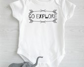 Go Explore One Piece - Birth Outfit, Coming Home, Inspirational Gift, Typographic Print, Bodysuit, Baby Shower, New Baby Gift