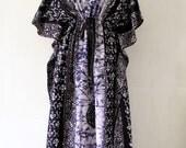 "PLUS SIZE dress, plus size Caftan, bohemian dress, hippie dress, plus size Maxi, plus size gown, plus size sundress, long dress (Navy GB)59"""