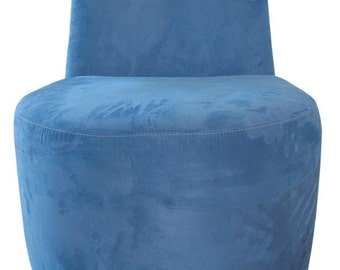 Contemporary Swivel Chair upholstered in a Bay Blue Suede Fabric