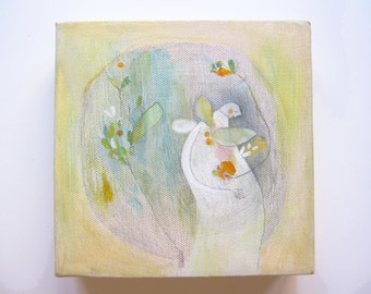 ORIGINAL abstract painting, whimsical painting small canvas wall art angel fantasy patience dreams garden