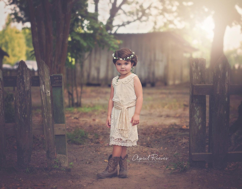 Rustic Flower Girl Dress Lace Flower Girl Dress Ivory Flower