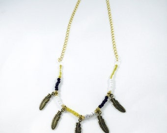 Glass Beaded Feather Necklace