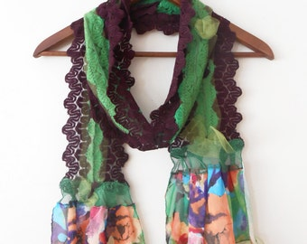 Colorful Mercerized scarf, Bordeaux green scarf, striped cotton scarf, Unique cotton scarf, Woman christmas gift, Handmade woman scarves