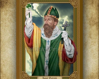 St. Patrick (C) Wood Icon & Holy Card GIFT SET Plaque #3213
