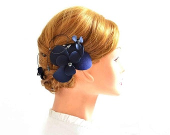Navy blue headpiece Navy fascinator Bridal headpiece Ivory fascinator Flower headpiece Wedding hair comb