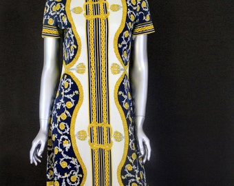 Vintage 60s Mr. Dino Shift Dress - Baroque print - Signed - Mr. Dino New York Paris Florence