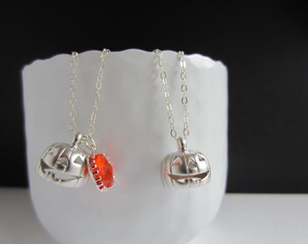 Halloween Pumpkin Necklace Orange,Halloween,Jack O' Lantern,Pumpkin,Orange - Sterling Silver Chain