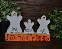 Personalized Halloween Decor Block Set Family Name Decor Halloween Decor Primitive Family Halloween Gift Primitive Block Set Ghost Decor