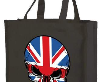 Best of British Skull Shopping Bag with gusset and long handles, 3 colour options