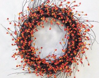 Fall Wreath, Bittersweet Wreath, Harvest Wreath, Fall Door Décor, Rustic Wreath, Prim Wreath, Country, Berry Wreath, Birch Wreath