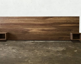 Solid Walnut Headboard With Night Stands
