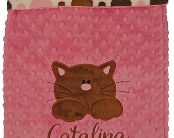 Personalized Baby Blanket, Pink and Brown Minky Cat Blanket, Precious little Kitty Minky Blanket, Choose your color and size