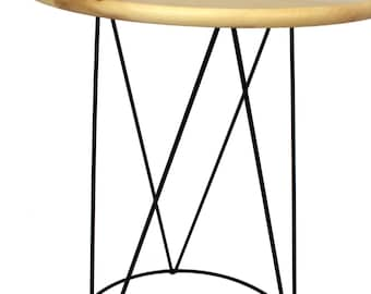 Metal table with Wooden Top