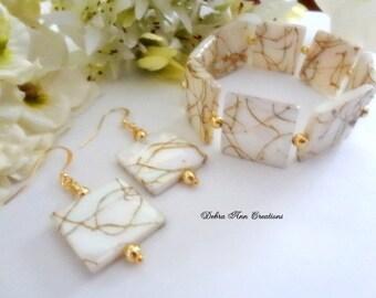 White Mother of Pearl Shell Cuff Bracelet Earring Set Mother of Pearl Shell Jewelry White Shell Bracelet Set Shell Earrings OOAK Gift Summer