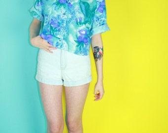 Upcycled Vintage Cropped Hawaiian Shirt