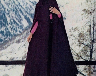 Hooded Long Cape Vintage Crochet Pattern Download