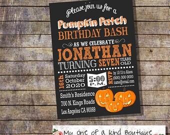 Pumpkin Patch invitation pumpkin birthday bash invite halloween fall chalkboard digital printable invitation you print invite 13666