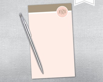 Personalized Notepad. Monogram notepad. Teacher gift notepad.