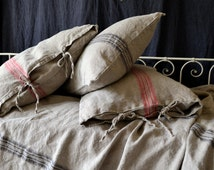 Grainsack Black and Red stripe Rustic Rough Heavy Weight Linen Pillow case. All sizes