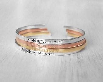 Thin Custom Coordinates Cuff Bracelets - Coordinates Bracelets - Personalized Latitude Longitude Jewelry - Skinny Silver Cuffs PB03