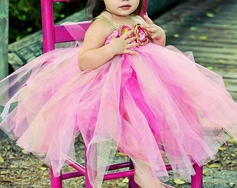 Pink, and Gold Couture Tutu Dress with Matching Headband