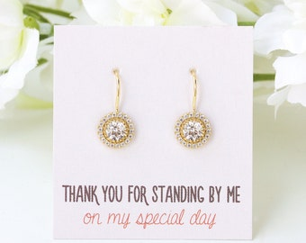 Gold Bridesmaid Earrings Gold Earrings Dangle Earrings 14k Gold Earrings Drop Earrings Crystal Earrings Personalized Jewelry Gift E300G