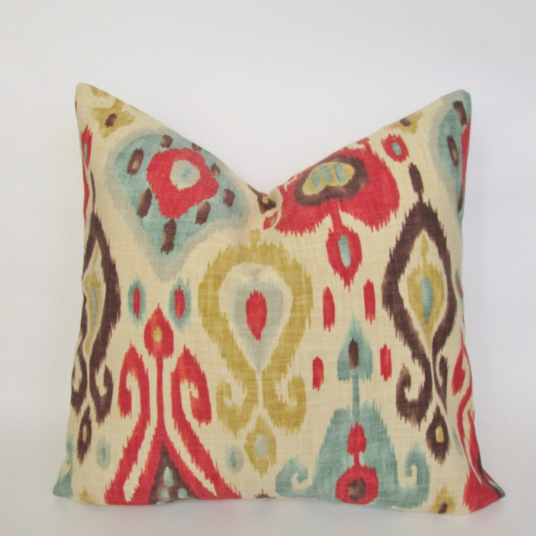 Ikat Throw Pillow Covers : Ikat Decorative Pillow Cover 18x18 20x20 Square Throw Pillow