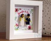 0010LW Mini Bride & Groom LEGO® Wedding customisable Wall Art Frame