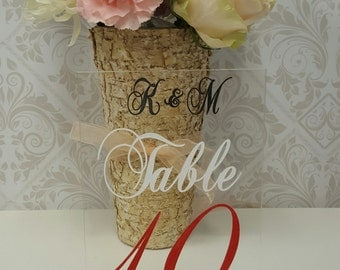 Acrylic Personaled Engraved Etched Table Numbers