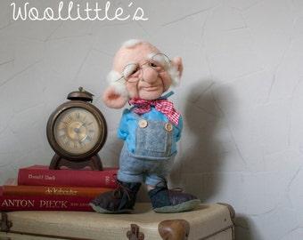 Handmade needle felted soft sculpture doll - Bill