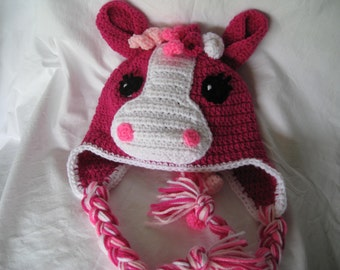 My Little Pony Inspired crochet hat with curly mane, plus earflaps and ties