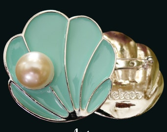 Shell Brooch, Enamel, The Tahitian, Turquoise Vintage Inspired Brooch