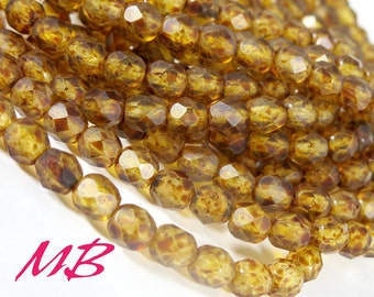 Matte 6mm Crystal Picasso Czech Glass Beads, Faceted Fire Polished