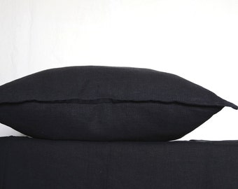 Linen euro sham 26x26 inch - dark gray / black pillow cover -Scandinavian style by Linenspace  | 0042