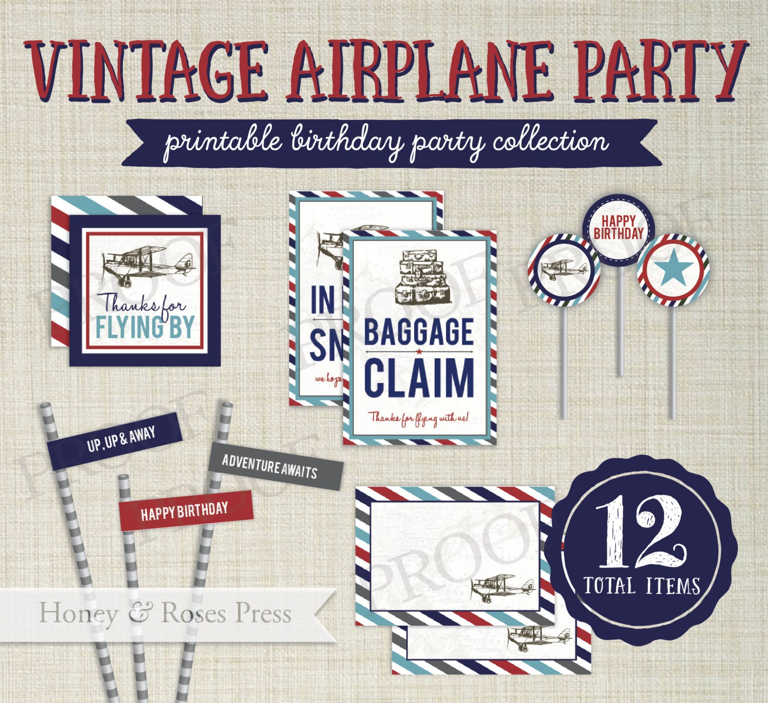 Airplane Birthday Party Favor Tags: Vintage Airplane Party Package . Plane Party Decor . Airplane
