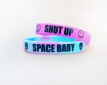 Pastel Grunge Bracelet // Alien Smiley Face Bracelet // Soft Grunge // Pastel Goth // Shut Up Bracelet // Space Baby Bracelet // 90s Hippie