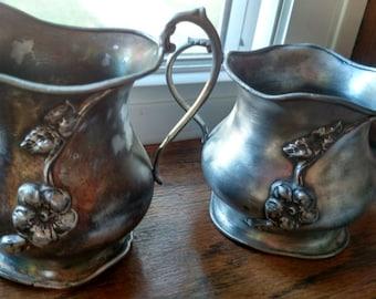 Vintage Van Bergh S.P. Co. silver plated creamer and sugar bowl