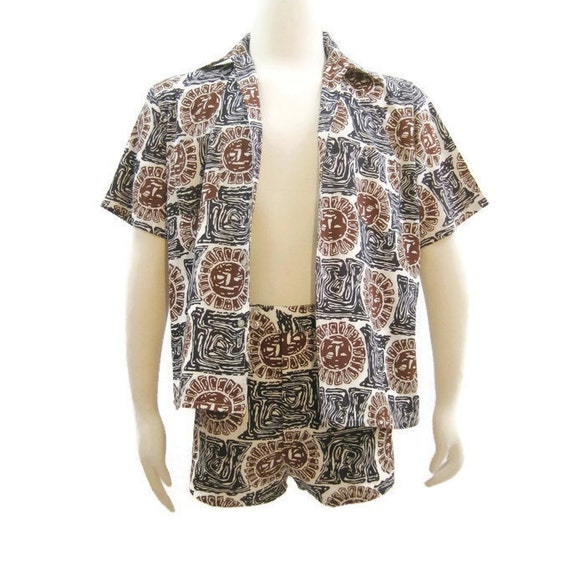 Vintage 60s Mens Cabana Set Mod Matching Swim Trunks Shirt