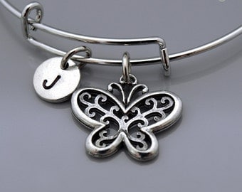Butterfly bangle, Butterfly bracelet, Ornate butterfly, Expandable bangle, Personalized bracelet, Charm bangle, Monogram, Initial bracelet