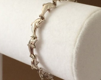 "Sterling Silver Dolphin Bracelet 7 1/4"""